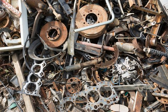 old rusty non recyclable car parts
