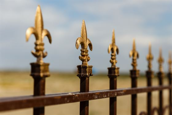 wrought iron fence with gold