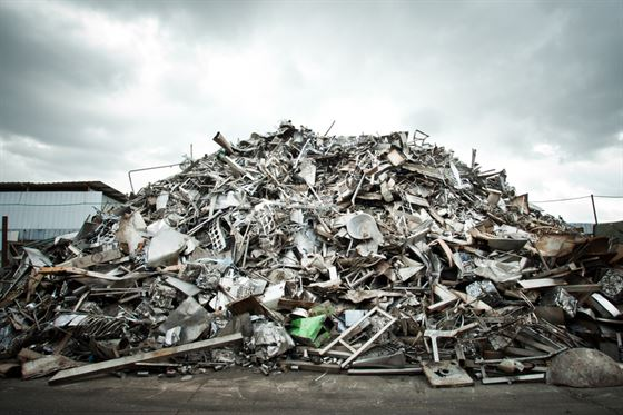 aluminium scrap yard with lots of different types