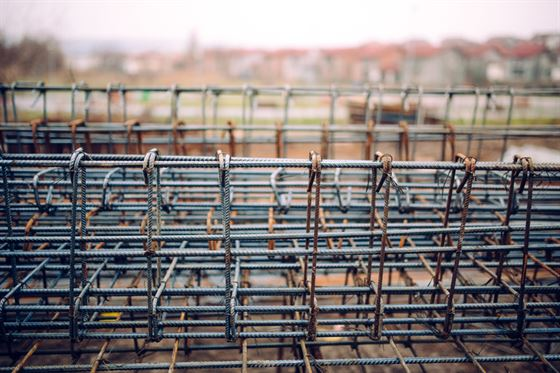 heavy duty steel bars on construction site
