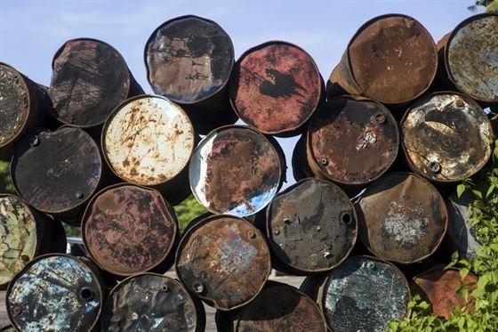 Old Rusting Oil Barrels