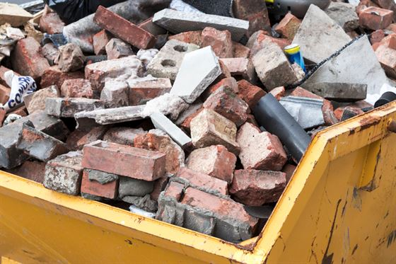 Skip full of bricks from home renovation