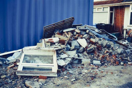 Pile of debris on driveway